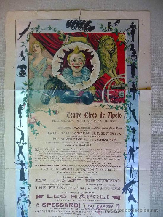 Carteles Espectáculos: RARO Y UNICO CARTEL, POSTER, TEATRO CIRCO APOLO, 1902, LITOGRAFIA ORTEGA, VALENCIA, CIRCO - Foto 4 - 22821568