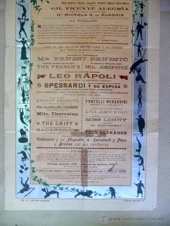 Carteles Espectáculos: RARO Y UNICO CARTEL, POSTER, TEATRO CIRCO APOLO, 1902, LITOGRAFIA ORTEGA, VALENCIA, CIRCO - Foto 5 - 22821568