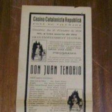 Carteles Espectáculos: MUY INTERESANTE CARTEL-BANDERILLA- CASINO CATALANISTA REPUBLICA PONT DE VILOMARA 1934 MANRESA. Lote 23917624