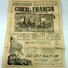 Affiches Spectacles: CARTEL CIRCO BEN HUR VIVIENTE GRAN CIRCO DE FRANCIA EN SAN SEBASTIAN 1966. Lote 24453568