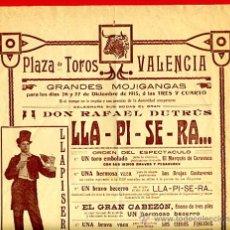 Carteles Espectáculos: CARTEL TOROS, PLAZA TOROS VALENCIA , 1913 , ORIGINAL ,C. Lote 24717907