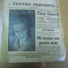 Carteles Espectáculos: CARTEL TEATRO PRINCIPAL 1955 ALICANTE. Lote 25313159