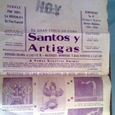 Carteles Espectáculos: CARTEL CIRCO CUBA - SANTOS Y ARTIGAS TEMPORADA 39 - 1956 - CICU2. Lote 26415091