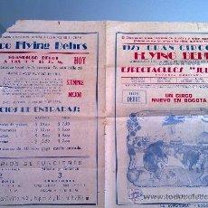 Carteles Espectáculos: CARTEL CIRCO COLOMBIA - GRAN CIRCO FLYING BEHRS - 1960 - CICU10. Lote 26415637