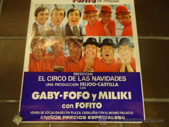 Carteles Espectáculos: CARTEL CIRCO PAYASOS DE LA TELE GABY FOFO MILIKI FOFITO año 1975 - Foto 2 - 190833488