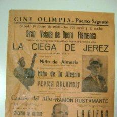Carteles Espectáculos: PUERTO -SAGUNTO.CINE OLIMPIA.1935.T-090. Lote 28469726