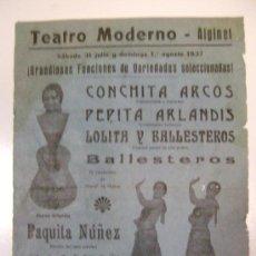Carteles Espectáculos: ALGINET.TEATRO MODERNO.1937.T-089. Lote 28470207
