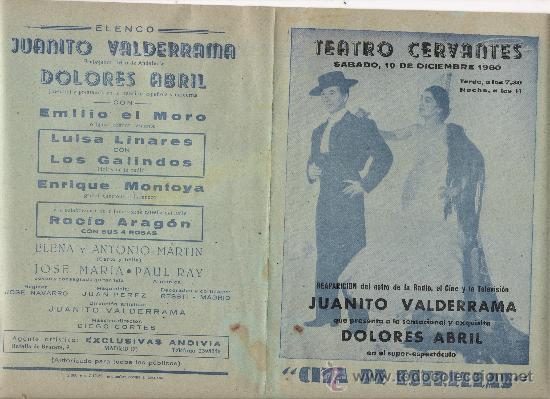 JUANITO VALDERRAMA Y DOLORES ABRIL 1960 (Coleccionismo - Carteles Gran Formato - Carteles Circo, Magia y Espectáculos)