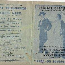 Carteles Espectáculos: JUANITO VALDERRAMA Y DOLORES ABRIL 1960. Lote 28530433