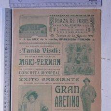 Carteles Espectáculos: CARTEL TEMPORADA DE VARIETEES VALENCIA - AGOSTO DE 1916 - IMP. LIT. ORTEGA, VALENCIA. Lote 29911757