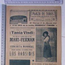 Carteles Espectáculos: CARTEL TEMPORADA DE VARIETEES VALENCIA - AGOSTO DE 1916 - IMP. LIT. ORTEGA, VALENCIA. Lote 29911779