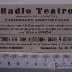 Carteles Espectáculos: INVITACION VALE. RADIO TEATRO. INSTALADO EN LA FERIA DE JAEN.. Lote 30415856