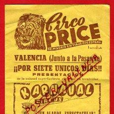 Carteles Espectáculos: CARTEL , PROGRAMA CIRCO PRICE EN VALENCIA , DIPTICO , ANTIGUO , ORIGINAL, C4. Lote 31402859