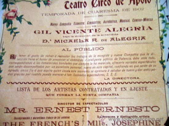 Carteles Espectáculos: RARO Y UNICO CARTEL, POSTER, TEATRO CIRCO APOLO, 1902, LITOGRAFIA ORTEGA, VALENCIA, CIRCO - Foto 13 - 22821568