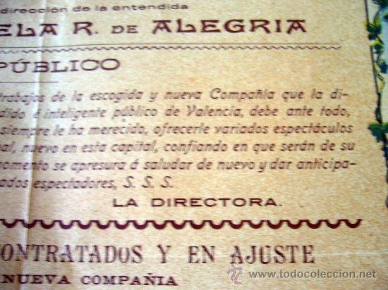 Carteles Espectáculos: RARO Y UNICO CARTEL, POSTER, TEATRO CIRCO APOLO, 1902, LITOGRAFIA ORTEGA, VALENCIA, CIRCO - Foto 15 - 22821568