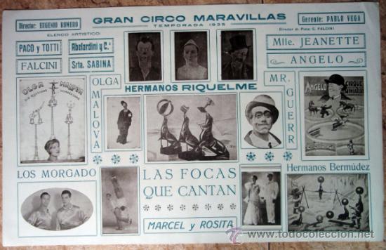 CARTEL CIRCO MARAVILLAS, TEMPORADA 1935 , CARTULINA, , ORIGINAL (Coleccionismo - Carteles Gran Formato - Carteles Circo, Magia y Espectáculos)
