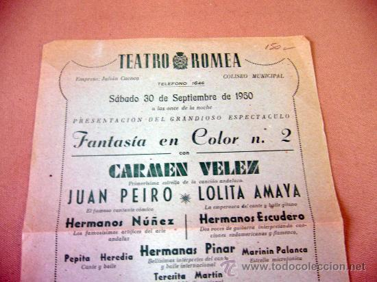 PROGRAMA DE TEATRO, CARTEL, TEATRO ROMEA, 1950, CARMEN VELEZ, ORQUESTA FRAHN-JOAM (Coleccionismo - Carteles Gran Formato - Carteles Circo, Magia y Espectáculos)