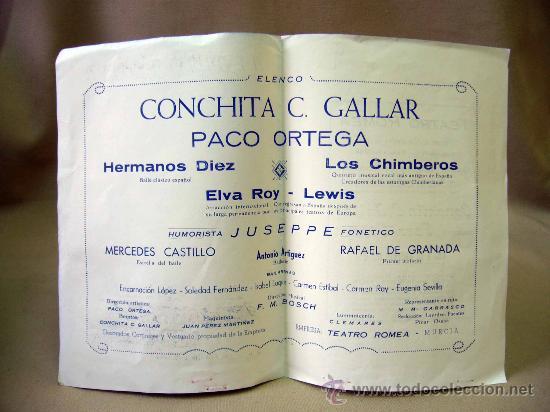 Carteles Espectáculos: PROGRAMA DE TEATRO, DOBLE, TEATRO ROMEA, CONCHITA C. GALLAR, MURCIA, PACO ORTEGA - Foto 2 - 32095275