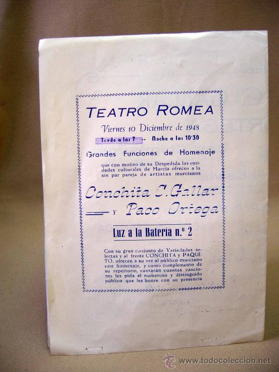 Carteles Espectáculos: PROGRAMA DE TEATRO, DOBLE, TEATRO ROMEA, CONCHITA C. GALLAR, MURCIA, PACO ORTEGA - Foto 3 - 32095275