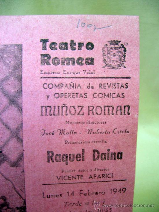 Carteles Espectáculos: PROGRAMA DE TEATRO, CARTEL, TEATRO ROMEA, 1949, RAQUEL DAINA, JOSE MOLLA - Foto 3 - 32095256