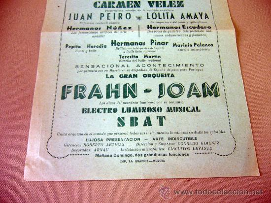 Carteles Espectáculos: PROGRAMA DE TEATRO, CARTEL, TEATRO ROMEA, 1950, CARMEN VELEZ, ORQUESTA FRAHN-JOAM - Foto 4 - 32095202
