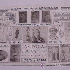 Carteles Espectáculos: POSTER : GRAN CIRCO MARAVILLAS. TEMPORADA 1935. ROMERO EUGENIO (DIRECTOR). Lote 34553525