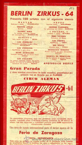 Carteles Espectáculos: CARTEL CARTELITO PUBLICIDAD , CIRCO BERLIN ZIRKUS , ORIGINAL, FM147 - Foto 3 - 32584077