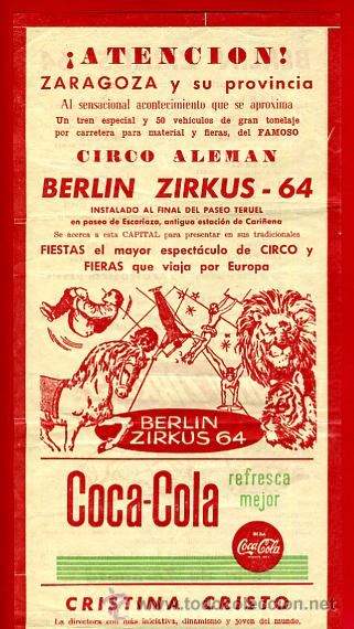 CARTEL CARTELITO PUBLICIDAD , CIRCO BERLIN ZIRKUS , ORIGINAL, FM147 (Coleccionismo - Carteles Gran Formato - Carteles Circo, Magia y Espectáculos)