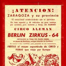 Carteles Espectáculos: CARTEL CARTELITO PUBLICIDAD , CIRCO BERLIN ZIRKUS , ORIGINAL, FM147. Lote 32584077