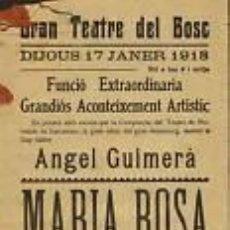 Carteles Espectáculos: CARTEL GRAN TEATRE DEL BOSC.1918. 17X44 CM.. Lote 33279022