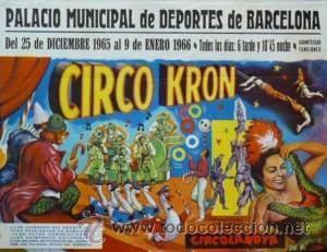 CARTEL CIRCO KRON. 1966. VALENCIA.59X43CM. (Coleccionismo - Carteles Gran Formato - Carteles Circo, Magia y Espectáculos)