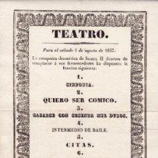 Carteles Espectáculos: CARTEL TEATRO 5 AGOSTO 1837.CIA. DRAMÁTICA ISABEL IIª. CÁDIZ. IMPRENTA DE HOWE. SOBRE PAPEL DE HILO.. Lote 46249254