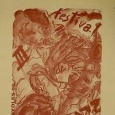 Carteles Espectáculos: CARTEL BANYOLES III FESTIVAL DE JAZZ. MONTES. CATALUNYA. 1996. 34X49. Lote 33446529