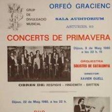 Carteles Espectáculos: CARTEL CONCERTS DE PRIMAVERA. 1980. 35 X 56 CM.. Lote 33470954