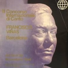 Carteles Espectáculos: CARTEL II CONCORSO INTERN. CANTO FCO. VIÑAS.1964.41X51. Lote 33471058