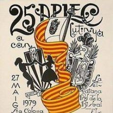 Carteles Espectáculos: CARTEL STA. COLOMA DE GRAMANET 25 APLEC 1979. VIDAL. CATALUNYA. 34X50. Lote 33498733