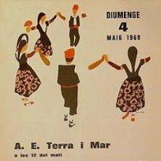 Carteles Espectáculos: CARTEL LA MOLA (SANT LLORENÇ DEL MUNT) SARDANES. DE LA PEÑA. 1969. 33X48. Lote 33498866