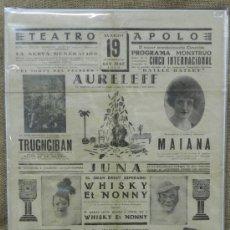 Carteles Espectáculos: ANTIGUO CARTEL DEL TEATRO APOLO, CIRCO INTERNACIONAL, 19 DE MARZO DE 1930, CON REPRESENTACION DE AUR. Lote 34287096