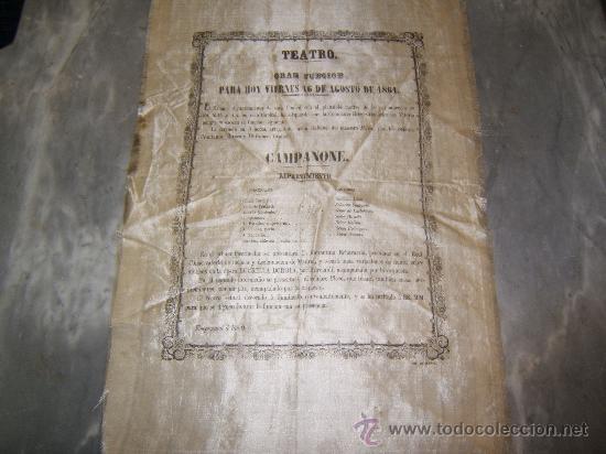 CARTEL PUBLICITARIO SEDA TEATRO DE VITORIA SIGLO XIX (Coleccionismo - Carteles Gran Formato - Carteles Circo, Magia y Espectáculos)