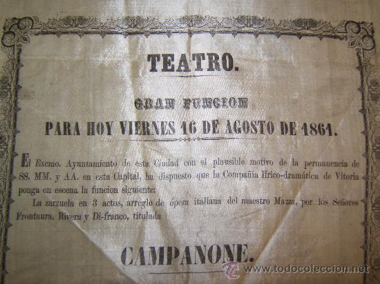Carteles Espectáculos: CARTEL PUBLICITARIO SEDA TEATRO DE VITORIA SIGLO XIX - Foto 2 - 34397630