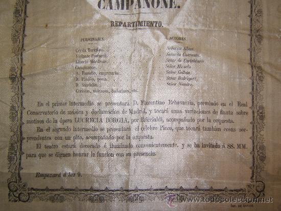 Carteles Espectáculos: CARTEL PUBLICITARIO SEDA TEATRO DE VITORIA SIGLO XIX - Foto 3 - 34397630