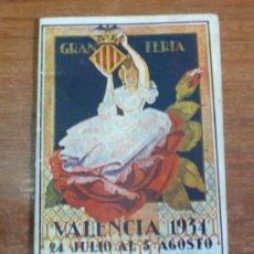 Carteles Espectáculos: PROGRAMA OFICIAL GRAN FERIA DE VALENCIA 1934. . Lote 34403661