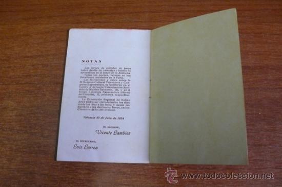 Carteles Espectáculos: PROGRAMA OFICIAL GRAN FERIA DE VALENCIA 1934. - Foto 7 - 34403661