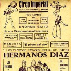 Carteles Espectáculos: PEQUEÑO CARTEL CIRCO , IMPERIAL , HERMANOS DIAZ , ORIGINAL , C127. Lote 34740415