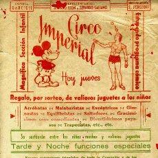 Carteles Espectáculos: PEQUEÑO CARTEL CIRCO , IMPERIAL , MICKEY MOUSE , DISNEY , ORIGINAL , C132. Lote 34740504