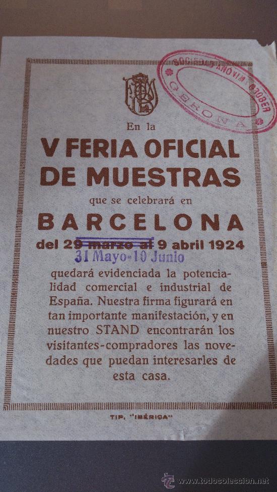 V FERIA OFICIAL DE MUESTRAS BARCELONA SOCIEDAD ANONIMA GROBER GERONA (Coleccionismo - Carteles Gran Formato - Carteles Circo, Magia y Espectáculos)