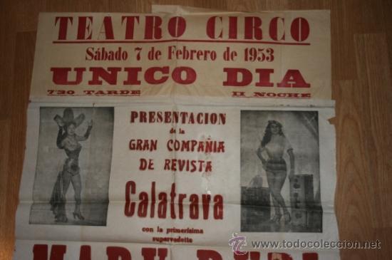 Carteles Espectáculos: Albacete Teatro Circo. Gran cartel 1953. Calatrava, Mary Rubi. Vedetts,Vicetiples... - Foto 3 - 36450844
