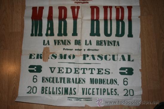 Carteles Espectáculos: Albacete Teatro Circo. Gran cartel 1953. Calatrava, Mary Rubi. Vedetts,Vicetiples... - Foto 2 - 36450844