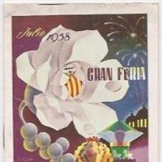 Carteles Espectáculos: PROGRAMA OFICIAL DE LA FERIA DE VALENCIA DE 1958. Lote 36496090