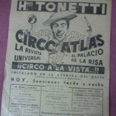 Carteles Espectáculos: CARTEL DE CIRCO ATLAS. HERMANOS TONETTI. DIBUJO DE JANO. Lote 37225937